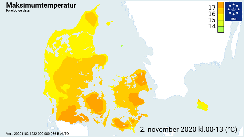 Højeste temperaturer den 2. november 2020.